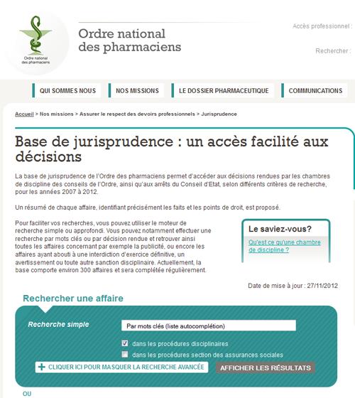 L'Ordre des pharmaciens met en ligne une base de jurisprudence