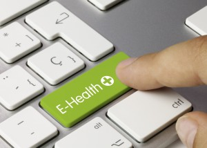 E-Health keyboard key. Finger