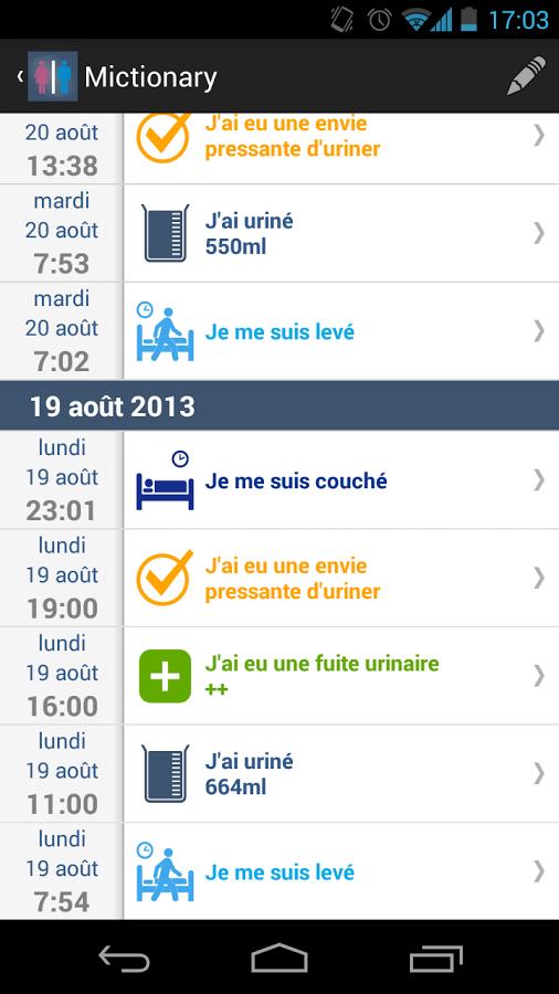 Mictionary : calendrier mictionnel sur mobile