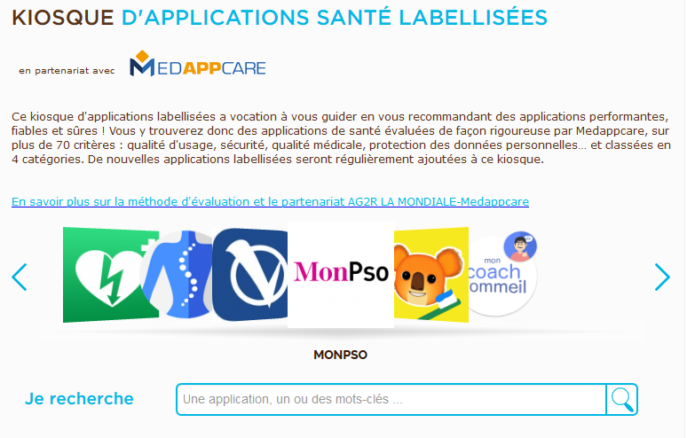 Kiosque d applications mobiles santé par AG2R La Mondiale 5c01d32f6bff